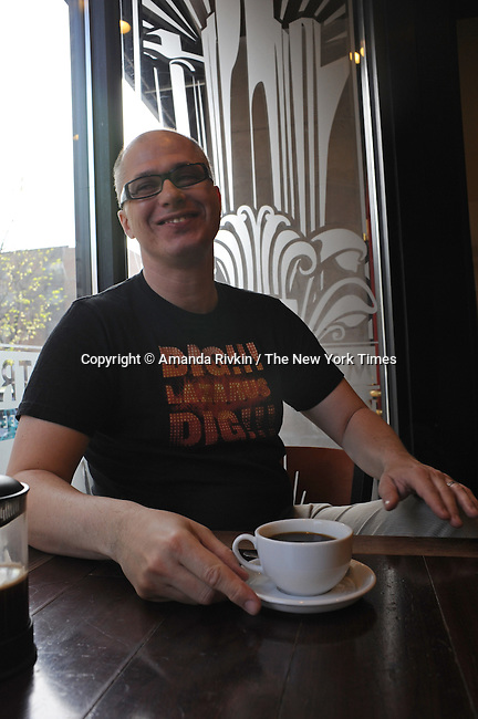 Writer Aleksandar Hemon is seen at the Metropolis Coffee Company in the Edgewater neighborhood of Chicago, Illinois on May 7, 2009.