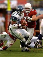 Nov. 6, 2005; Tempe, AZ, USA; Running back (37) Shaun Alexander of the Seattle Seahawks rushes the ball against the Arizona Cardinals at Sun Devil Stadium. Mandatory Credit: Mark J. Rebilas