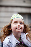 17/3/2011. ST PATRICKS DAY DUBLIN. 3 yr old Lorraine Keane is pictured on College Green enjoying the Dublin St Patricks Day Parade. Picture James Horan/Collins Photos