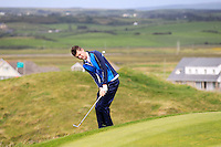 Andrew McGee (Powerscourt) on the 1st during the Quarter Finals of The South of Ireland in Lahinch Golf Club on Tuesday 29th July 2014.<br /> Picture:  Thos Caffrey / www.golffile.ie