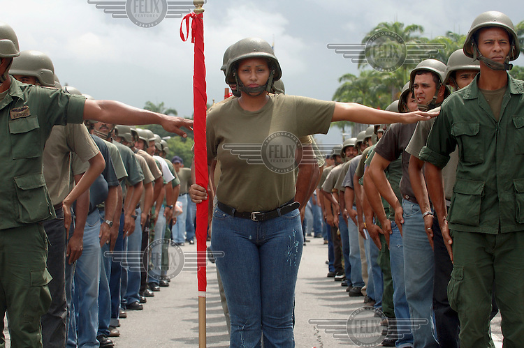 Military reserve units training at Fort Tiuna. Earlier in 2006 Venezuela announced that it had increased the number of reservists in its army to two million, about one in five of the adult population.Photo: Dermot Tatlow/Panos Pictures/Felix Features