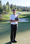 August 7, 2011: Tournament champion Scott Piercy with his trophy after winning the Reno-Tahoe Open at Montrêux.