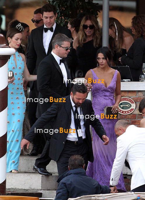 Emily Blunt, husband John Krasinski, Matt Damon &amp; wife Luciana Barroso  - GEORGE CLOONEY &amp; AMAL ALAMUDDIN WEDDING CEREMONY AT THE AMAN RESORTS HOTEL IN VENICE - <br /> George Clooney &amp; British fiancee Amal Alamuddin and guests on taxi boat on the Grand Canal on their way to the seven-star Aman Hotel for the wedding celebrations.<br /> Robert De Niro, Matt Damon, Brad Pitt and Cate Blanchett were among the other stars, like Cindy Crawford, Rande Geber, Bill Murray, Emily Blunt.<br /> Italy, Venice, 27 September, 2014.
