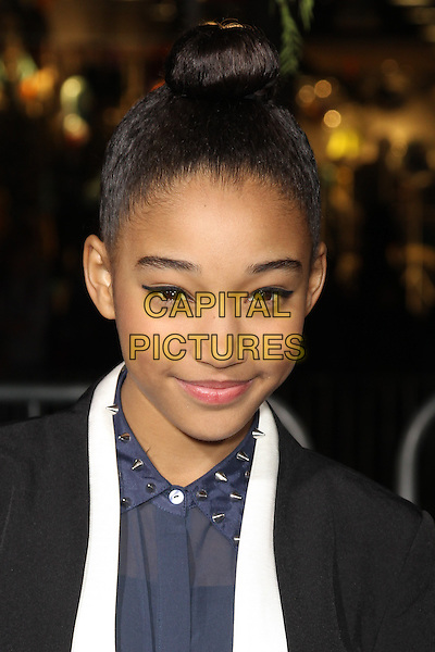 "Amandla Stenberg.""Beautiful Creatures"" Los Angeles Premiere held at the TCL Chinese Theatre, Hollywood, California, USA. .February 6th, 2013.headshot portrait black blue white shirt shirt studs studded collar hair up bun eyeliner flick make-up beauty .CAP/CEL .©CelPh/Capital Pictures."