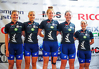 The NZ team. Trust House Women's Cycle Tour Of New Zealand launch at Copthorne Hotel in Masterton, New Zealand on Wednesday, 18 February 2015. Photo: Dave Lintott / lintottphoto.co.nz