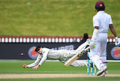 4th December 2017, Basin Reserve, Wellington, New Zealand; International Test Cricket, Day 4, New Zealand versus West Indies;  Tom Latham attempts to take a catch and a chance to dismiss Dowrich