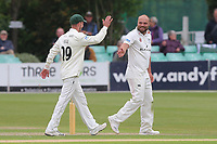 Joe Leach of Worcestershire celebrates taking the wicket of Alastair Cook during Worcestershire CCC vs Essex CCC, Specsavers County Championship Division 1 Cricket at Blackfinch New Road on 11th May 2018