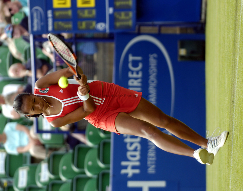 Photo: Richard Lane..Hastings Direct International Championship at Eastbourne. 14/06/2004..Anne Keothavong returns during her first round defeat by Magdalema Maleeva.