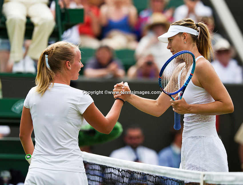 England, London, June 30, 2015, Tennis, Wimbledon, Richel Hogenkamp (NED) congratulates Maria Sharapova (RUS) on her win<br /> Photo: Tennisimages/Henk Koster