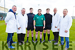 Referee Cathal White with his officials at the U14 Feile  Hurling Finals in Abbeydorney on Monday. L to r: Damien Mc Carthy, Gerard Guerin, Cian McCarthy, Cathal White, Dean O'Brien, John Ross and Liam Goggin.