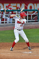 Nick Flair (19) of the Orem Owlz at bat against the Billings Mustangs in Game 2 of the Pioneer League Championship at Home of the Owlz on September 16, 2016 in Orem, Utah. Orem defeated Billings 3-2 and are the 2016 Pioneer League Champions.(Stephen Smith/Four Seam Images)