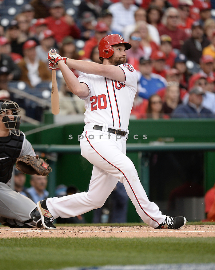 Washington Nationals Daniel Murphy (20) during a game against the Miami Marlins on April 7, 2016 at Nationals Park in Washington, DC. The Marlins beat the Nationals 6-4.
