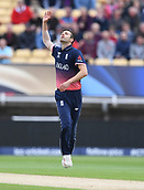 June 10th 2017, Edgbaston, Birmingham, England;  ICC Champions Trophy Cricket, England versus Australia; Mark Wood of England reacts after a near miss