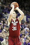 Abe Lodwick, Washington State junior forward, dials in one of his two three pointers during the Cougars 80-69 road victory over arch-rival Washington at the Alaska Airlines Arena in Seattle, Washington, on February 27, 2011.  With the victory, Lodwick and the Cougars swept the regular season series from the Huskies, two games to none.