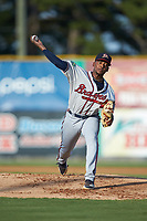 Danville Braves starting pitcher Darius Vines (23) in action against the Burlington Royals at Burlington Athletic Stadium on July 13, 2019 in Burlington, North Carolina. The Royals defeated the Braves 5-2. (Brian Westerholt/Four Seam Images)