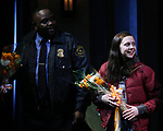 Brian Tyree Henry and Bel Powley during the the Broadway Opening Night Performance curtain call for 'Lobby Hero' at The Hayes Theatre on March 26, 2018 in New York City.