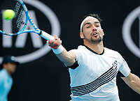 26th January 2020; Melbourne Park, Melbourne, Victoria, Australia; Australian Open Tennis, Day 7; Fabio Fognini of Italy returns during his match against Tennys Sandgren of USA