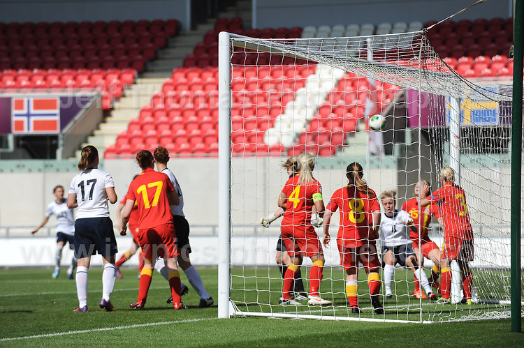 England put the Wales side under pressure in the goalmouth during the UEFA Womens U19 Championships at Parc y Scarlets, Monday 19th August 2013. All images are the copyright of Jeff Thomas Photography-www.jaypics.photoshelter.com-07837 386244-Any use of images must be authorised by the copyright owner.