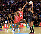 7th September 2017, Te Rauparaha Arena, Wellington, New Zealand; Taini Jamison Netball Trophy; New Zealand versus England;  Silver Ferns Maria Tutaia looks to shoot with Englands Geva Mentor blocking