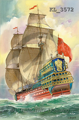 Interlitho, Luis, LANDSCAPES, paintings, sailing ship, red flag(KL3572,#L#) Landschaften, Schiffe, paisajes, barcos, llustrations, pinturas ,puzzles