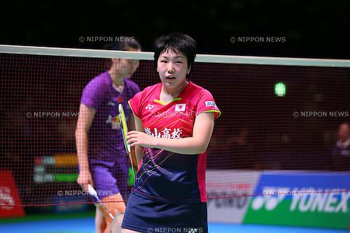 Akane Yamaguchi (JPN), SEPTEMBER 11, 2015 - Badminton : Yonex Open Japan 2015 Women's Singles quarter-final  at Tokyo Metropolitan Gymnasium, Tokyo, Japan. (Photo by Yohei Osada/AFLO SPORT)