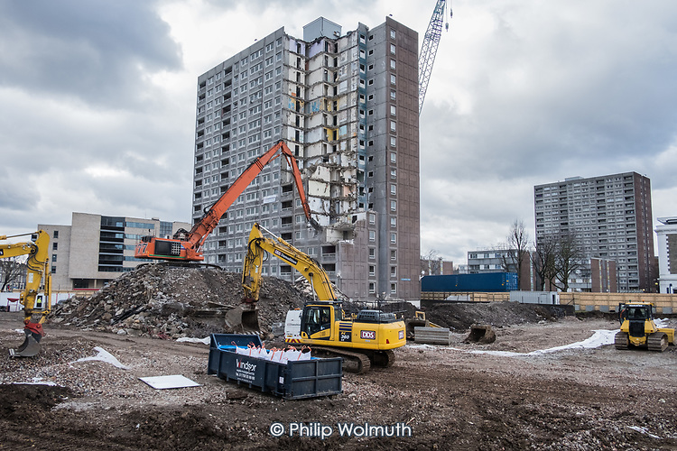 High reach demolition excavator,  Gloucester House, South Kilburn Estate.