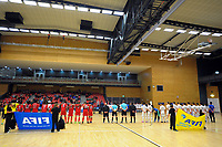 The teams line up before the international men's futsal match between the NZ Futsal Whites and New Caledonia at Baypark Arena in Mount Maunganui, New Zealand on Thursday, 14 September 2017. Photo: Dave Lintott / lintottphoto.co.nz