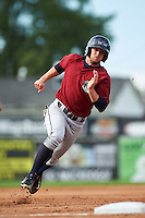 Mahoning Valley Scrappers left fielder Andrew Calica (26) running the bases during the first game of a doubleheader against the Batavia Muckdogs on August 17, 2016 at Dwyer Stadium in Batavia, New York.  Mahoning Valley defeated Batavia 10-3.  (Mike Janes/Four Seam Images)