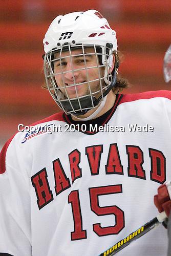 Doug Rogers (Harvard - 15) - The Colgate University Red Raiders defeated the Harvard University Crimson 4-2 (EN) on Saturday, February 20, 2010, at Bright Hockey Center in Cambridge, Massachusetts.