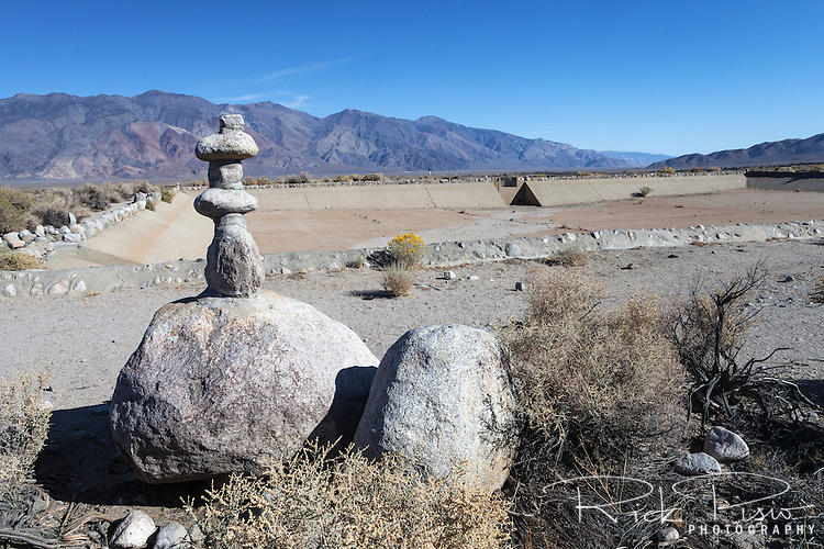 Rock monument built by Japanese-American internees at water reservoir for the Manzanar War Relocation Center in California's Owens Valley