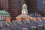 Faneuil Hall over the slate roof of Quincy Market, Boston National Historical Park, Boston, MA, USA