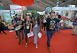 Demonstrators protesting the policies of large pharmaceutical companies march on July 24 through the exhibit hall at the 2018 International AIDS Conference in Amsterdam, Netherlands.