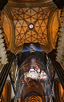 BNPS.co.uk (01202 558833)<br /> Pic: ZacharyCulpin/BNPS<br /> <br /> One of the UK's most historic cathedrals today unveiled a 40ft Renaissance-style photographic tableau as its nativity - with its very own clergy, volunteers and staff starring as figures from the Christian scene.<br /> <br /> Salisbury Cathedral's spectacular nativity features its stonemason as Joseph, a bookings agent as Mary, a retired postman as a shepherd, a Canon and guides as Wise Men - and the son of an ex-England rugby player as baby Jesus.<br /> <br /> The Wiltshire cathedral wanted to put a modern twist on the traditional Christmas scene and cast people as Nativity characters before holding a series of individual and group photoshoots.