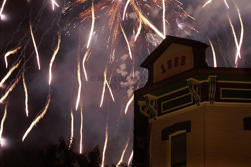 Fireworks over downtown Aspen. Michael Brands photo. ski, skiing,