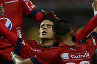 MEDELLÍN - COLOMBIA, 03-05-2018: Daniel Cataño (Izq) jugador del Medellín celebra después de anotar el segundo gol de su equipo al America de Cali durante el partido entre Deportivo Independiente Medellín y America de Cali por la fecha 14 de la Liga Águila I 2018 jugado en el estadio Atanasio Girardot de la ciudad de Medellín. / Daniel Cataño (L) player of Medellin celebrates after scoring the second goal of his team to America de Cali during match between Deportivo Independiente Medellin and America de Cali for the date 14 of the Aguila League I 2018 played at Atanasio Girardot stadium in Medellin city. Photo: VizzorImage / León Monsalve / Cont