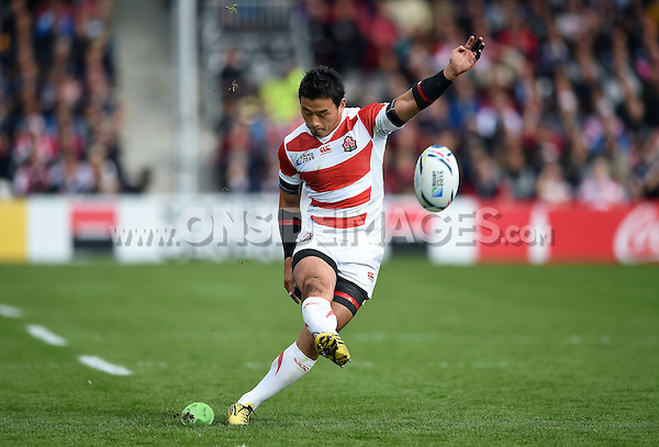 Ayumu Goromaru of Japan kicks for the posts. Rugby World Cup Pool B match between Scotland and Japan on September 23, 2015 at Kingsholm Stadium in Gloucester, England. Photo by: Patrick Khachfe / Onside Images
