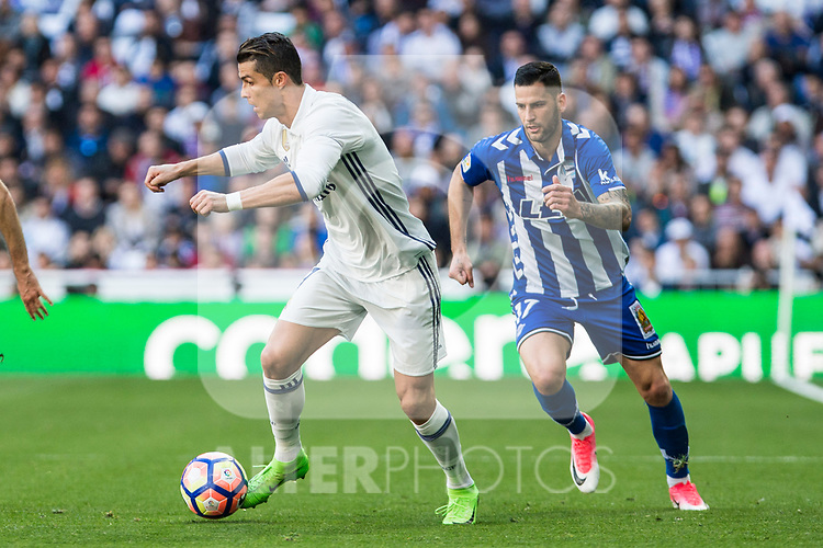 Cristiano Ronaldo of Real Madrid during the match of  La Liga between Real Madrid and Deportivo Alaves at Bernabeu Stadium Stadium  in Madrid, Spain. April 02, 2017. (ALTERPHOTOS / Rodrigo Jimenez)