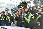 Nairo Quintana (COL) Movistar Team at sign on before the start of the 111th edition of Il Lombardia 2017 &quot; The Race of the Falling Leaves&quot; the final monument of the season, running 247km from Bergamo to Como, Italy. 7th October 2017.<br /> Picture: LaPresse/Fabio Ferrari | Cyclefile<br /> <br /> <br /> All photos usage must carry mandatory copyright credit (&copy; Cyclefile | LaPresse/Fabio Ferrari)