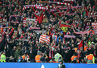 11th March 2020; Anfield, Liverpool, Merseyside, England; UEFA Champions League, Liverpool versus Atletico Madrid;  the Atletico Madrid supporters hold their scarves aloft