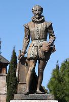 Miguel Cervantes statue on Plaza Universidad Valladolid spain castile and leon