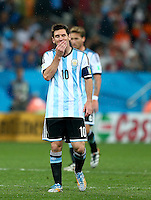 Lionel Messi of Argentina shows a look of dejection