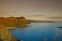 This view from Makapuu Point facing northward shows the beauty of the Koolau Mountains.Seen from left to right is Makapuu Beach Park, Sea life Park and the Waimanalo Bay area. Windward Oahu. Photo taken at sunrise.