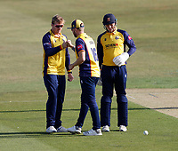 Simon Harmer (L) of Essex is congratulated after taking the wicket of Heino Kuhn during Kent Spitfires vs Essex Eagles, Vitality Blast T20 Cricket at The Spitfire Ground on 18th September 2020