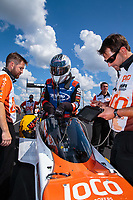Sep 3, 2018; Clermont, IN, USA; Crew members for NHRA top fuel driver Blake Alexander during the US Nationals at Lucas Oil Raceway. Mandatory Credit: Mark J. Rebilas-USA TODAY Sports
