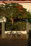 Bike and shadow, Puerto Mogan, Gran Canaria, Canary Islands,Spain.