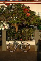 Bike and shadow, Puerto Mogan, Gran Canaria, Canary Islands,Spain.