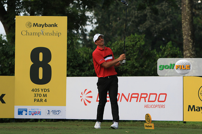 Jamie Elson (ENG) in action on the 8th tee during Round 1 of the Maybank Championship at the Saujana Golf and Country Club in Kuala Lumpur on Thursday 1st February 2018.<br /> Picture:  Thos Caffrey / www.golffile.ie<br /> <br /> All photo usage must carry mandatory copyright credit (© Golffile | Thos Caffrey)