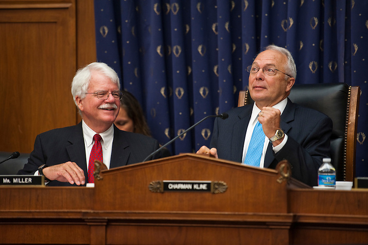 "WASHINGTON, DC - July 13: Ranking member George Miller, D-Calif., and Chairman John Kline, R-Minn., joke with each other before the House Education and Workforce markup of HR 2445, the ""State and Local Funding Flexibility Act,"" and HR 2465, a bill to amend the Federal Employees' Compensation Act. (Photo by Scott J. Ferrell/Congressional Quarterly)"