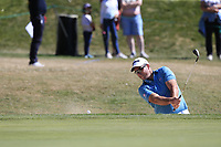 Ryan Fox (NZL) chips from a bunker at the 8th green during Saturday's Round 3 of the 2018 Omega European Masters, held at the Golf Club Crans-Sur-Sierre, Crans Montana, Switzerland. 8th September 2018.<br /> Picture: Eoin Clarke | Golffile<br /> <br /> <br /> All photos usage must carry mandatory copyright credit (&copy; Golffile | Eoin Clarke)