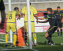 25/09/2010   Copyright  Pic : James Stewart.sct_jsp021_hamilton_v_kilmarnock  .::  JAMIE HAMILL AND TOMAS CERNY TUSSLE IN THE GOALMOUTH AFTER HE SCORES KILLIES FIRAST FROM THE SPOT  ::.James Stewart Photography 19 Carronlea Drive, Falkirk. FK2 8DN      Vat Reg No. 607 6932 25.Telephone      : +44 (0)1324 570291 .Mobile              : +44 (0)7721 416997.E-mail  :  jim@jspa.co.uk.If you require further information then contact Jim Stewart on any of the numbers above.........